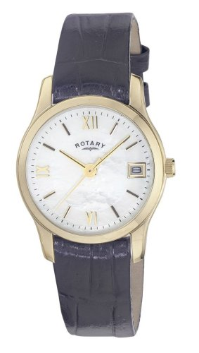 Rotary Ladies Gold Plated Round White Dial Leather Strap Watch