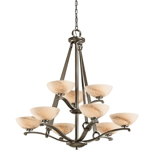 Kichler Lighting 42356SWZ Garland 9-Light Chandelier, Shadow Bronze with Umber Shadow Swirl Glass