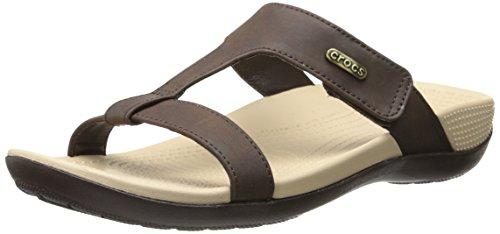 crocs Women's Ella Comfortpath Sandal, Mahogany/Mahogany ...