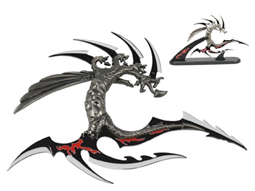 """11 3/4"""" Blade. Fantasy Dragon With Wooden Stand"""