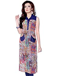 Satrangi Women's Kurta Blue Digital Print