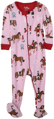 Hatley Footed Coverall - Hunter Jumper (All Over), Pink , 6-12M