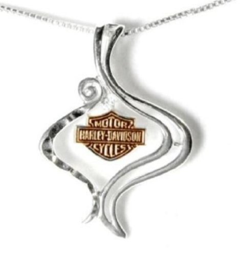 Harley-Davidson® Stamper Women's 10K Gold and Sterling Silver Necklace/Pendant.. HN7414