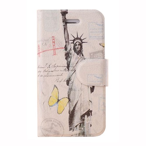 Meaci Apple Iphone 4&4S Folio Case Fashion Pattern With Kickstand Credit Card Holder Id Holder Pu Leather Material Cover Magnetic Buckle (Viii)