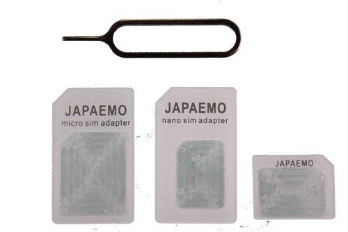 JAPAEMO 【Amazon限定】SIM変換アダプター 4点セット (標準, マイクロ, nano) for iPhone5S/5C/4S/4/3GS/3用 ホワイト A-JE-NANO-SET-WH