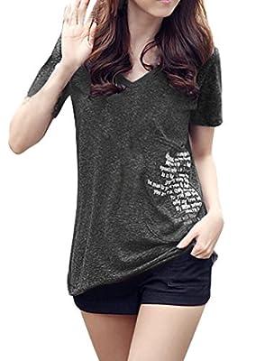Allegra K Women Casual V Neck Short Sleeve Letters Summer Tops T Shirts