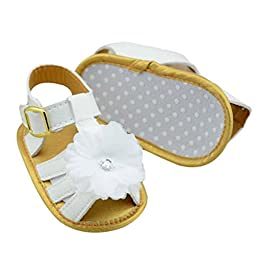 Infant Baby Sandals Mosunx(TM) Baby Girls Leather Flower Crib Soft Sole Flat Shoes (0~6 Month , White)