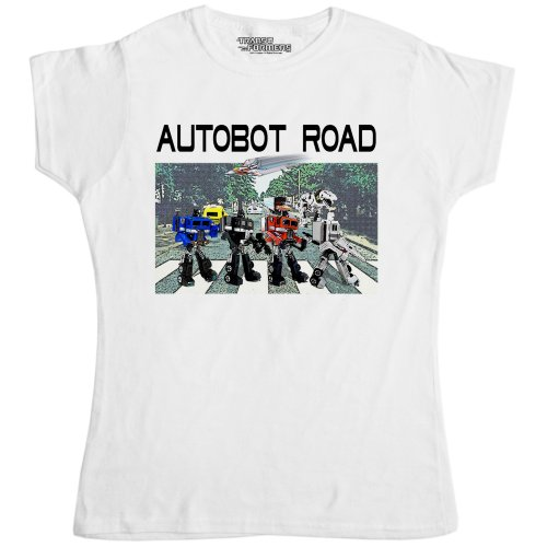 Womens Official Transformers T Shirt - Autobot Road White