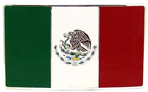 Mexico Country Nation Flag Belt Buckle.