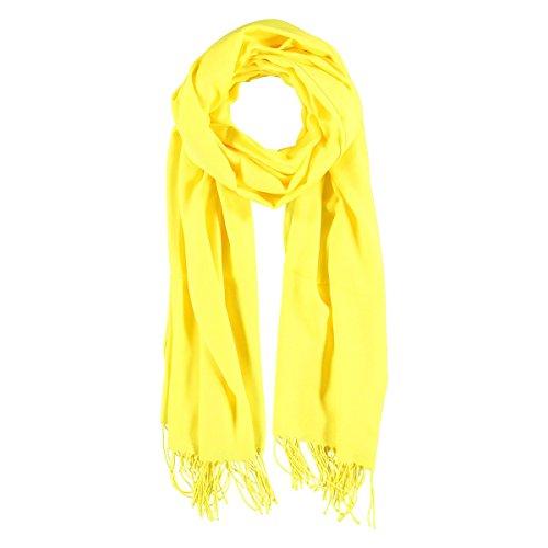 XL Pashmina Sciarpa Frange Passigatti sciarpa da uomo sciarpa viscosa Taglia unica - giallo