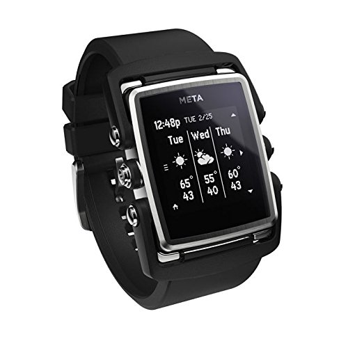 Meta-M1-Core-Black-Rubber-MW4003-Smart-Watch-Bluetooth-40-connectivity-iOS-and-Android-Compatible-Stainless-Steel-Face-Black-Nylon-and-Black-Rubber-Strap
