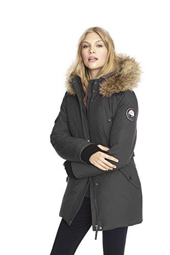 Alpinetek Women's Down Mid Length Parka Coat (Small, Black)