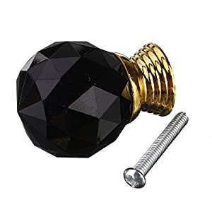 30mm 8Pcs Black Crystal Glass Door Knobs Drawer Pull Handle Home by The end Co,.Ltd
