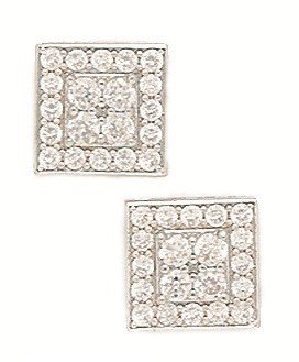 14ct White Gold CZ Big Square Fancy Post Earrings - Measures 10x10mm