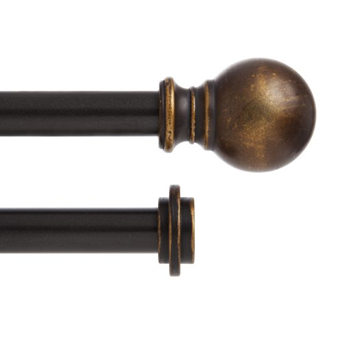 Kenney Double Rod Ball End Window Treatment Hardware, 36 to 66-Inch, Oil Rubbed Bronze