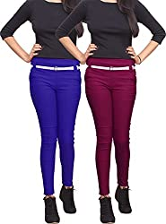 Xarans Stylish Royal Blue & Maroon Cotton Lycra Zip Jegging Set of 2 Pcs