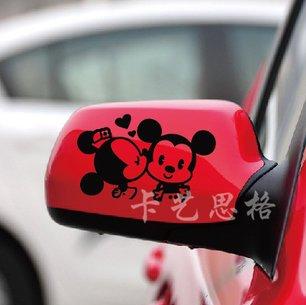 カーステッカー ミッキーマウスとミニーマウス ディズニー ドアミラー用 左右セット