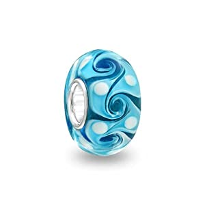 Bling Jewelry Simulated Turquoise Glass Swirl 925 Silver Murano Glass Bead Fits Pandora