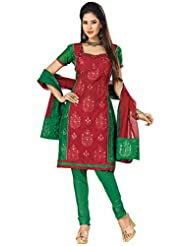 Prafful Cotton Dress-Material With Dupatta (MJ-6011_Red_Free Size)