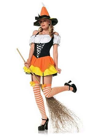 Leg Ave Women's Kandy Korn Witch Costume, Orange/Yellow, X-Small