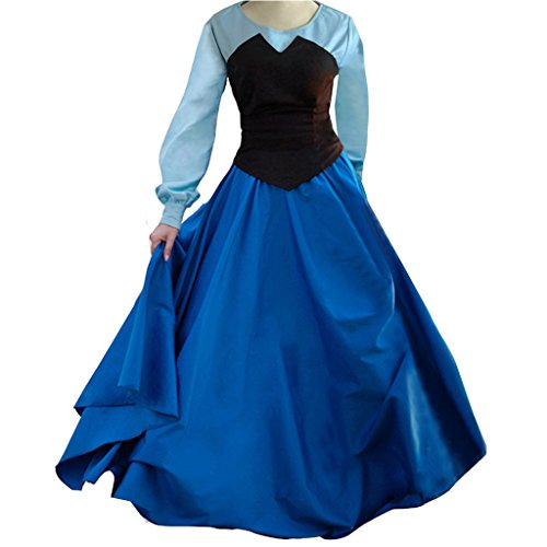 Halloween 2017 Disney Costumes Plus Size & Standard Women's Costume Characters - Women's Costume CharactersAdult Ariel Blue Costume Cosplay Halloween Party Dress