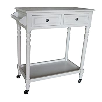 Urbanest Hampton Bar Cart with Shelf and Wheels, Vintage Grey