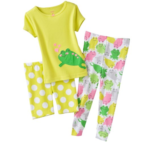 Girls cotton pj Frog 3 Piece Pajama Set