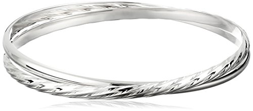 Sterling Silver Smooth and Diamond-Cut Twisted Bangle Bracelet