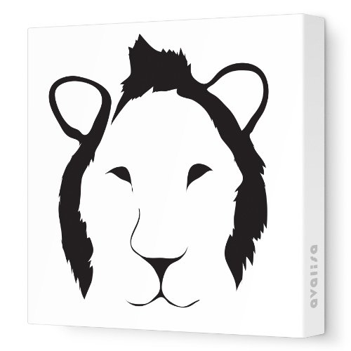 "Avalisa Stretched Canvas Nursery Wall Art, Lion Face, Black, 12"" X 12"""