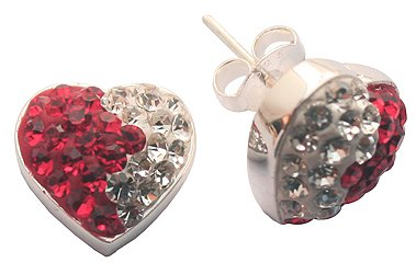 Crystal Hearts Earrings with crystals - sterling silver 925 - Absolute bling bling!! By GlitZ JewelZ ©