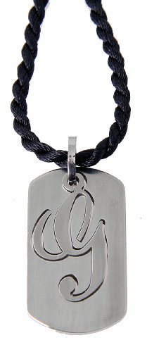 Stainless Steel Dog Tag (Small) - G - With Black Cord Necklace