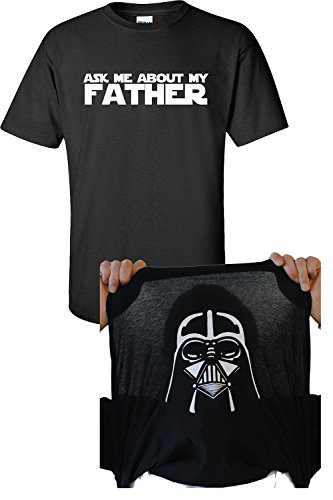 Jacted Up Tees Ask Me About My Father Darth Vader Flip Up Men's T-Shirt - Large Black (650)