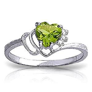 14k White Gold Ring with Natural Diamonds and Peridot - Size 9.0