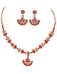 Gehna Coral & Pearl Stone Studded Necklace & Earring Set