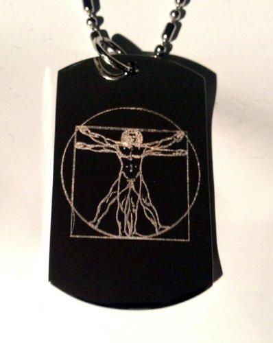 Da Vinci Vitruvian Vitruvius Man Renaissance Logo Symbols - Military Dog Tag Luggage Tag Key Chain Metal Chain Necklace front-400481