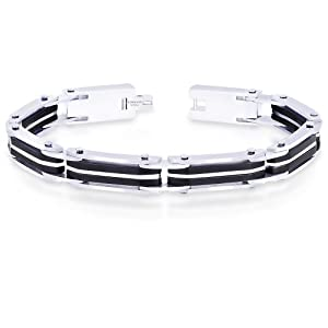 Peora Valentine 316L Stainless Steel Two Tone Striped Men Stylish Link Bracelet w/ Fold Over Clasp (PSB764) available at Amazon for Rs.1450