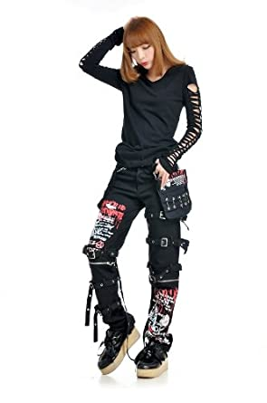 GDR - Punk Fashion Gothic Visual Rock Casual Long Pants S M L XL Size 71252 (S)