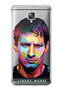 MiiCreations Printed Transparent Crystal Clear Silicon/Soft back cover for OnePlus 3,Lionel Messi