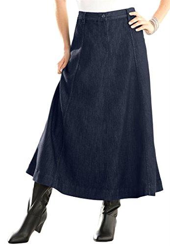 Roamans Women's Plus Size Long Denim Skirt Black Blue Denim,12 W