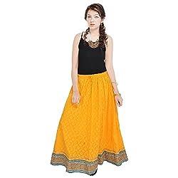 Prateek Retail Rajasthani Ethnic Yellow Pure Cotton Skirt