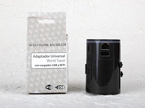 Salvador Bachiller - Adaptateur de Voyage avec hub USB et WiFi - Digital Sb HS-8778B - Noir