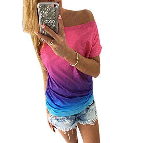 Fortan OVERMAL Maglia a manica corta casuale allentato maglietta supera camicia camicetta (x-large, Blu)