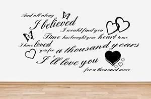 Christina perri a thousand years song lyrics wall art sticker quote