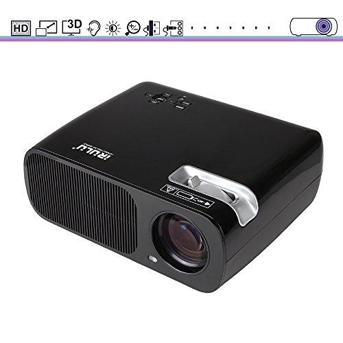 iRULU Mini proyector LED Multimedia Portátil de 1000 lúmenes con VGA USB SD AV HDMI para Teatro de Cine en Casa, Juegos para niños o Reuniones, Blanco