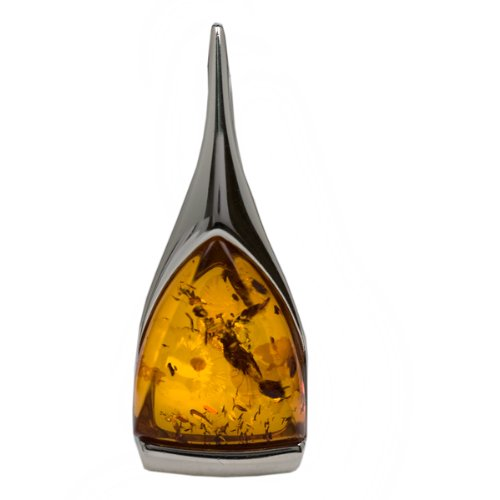 High Quality Honey Amber and Sterling Silver Triangular Pendant