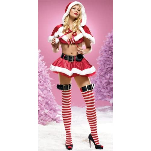 Sexy Costume: Hot Babes in Three Piece Candy Cane Claus Santa Push-Up Halter Bra Top With Candy Cane Charm & Skirt With Belt