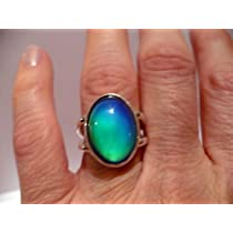 Top Quality Men Ladies Sterling Silver Mood Ring Fast Vivd Colors
