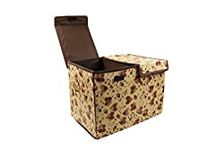 Home Candy Hearts Dual Compartment Cardboard Foldable Storage Box - Brown