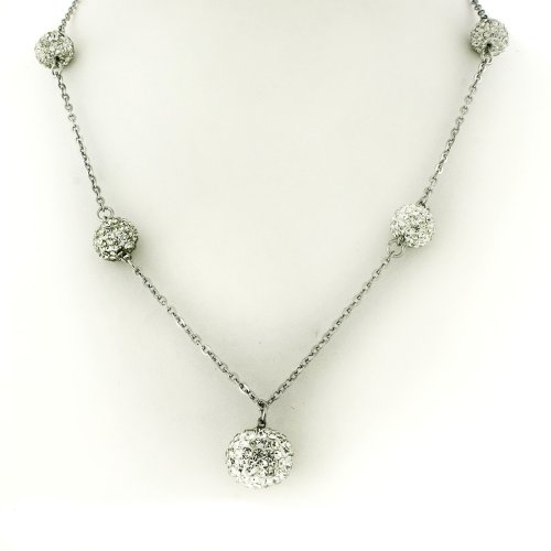 Ladies Stainless Steel Disco Balls Silver Tone Chain Necklace