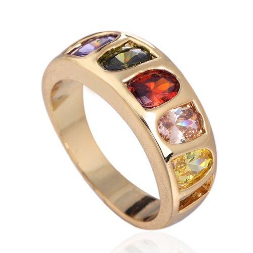 C-Princessリング 指輪18Kゴールドメッキ コーティン ラインストーン レディース 女性 アクセサリー ジュエリー ウェディング エンゲージリング 鮮やか カラフル (11)